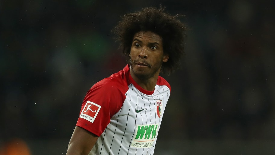 MOENCHENGLADBACH, GERMANY - JANUARY 20: Caiuby of Augsburg reacts during the Bundesliga match between Borussia Moenchengladbach and FC Augsburg at Borussia-Park on January 20, 2018 in Moenchengladbach, Germany. (Photo by Lars Baron/Bongarts/Getty Images)i