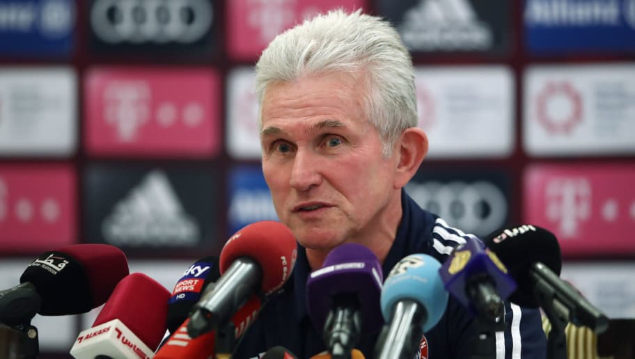 DOHA, QATAR - JANUARY 05:  Head coach Jupp Heynckes talks to the media during a press conference on day 4 of the FC Bayern Muenchen training camp at Moevenpick Al Aziziyah Hotel on January 5, 2018 in Doha, Qatar. on January 5, 2018 in Doha, Qatar.  (Photo by Alex Grimm/Bongarts/Getty Images)