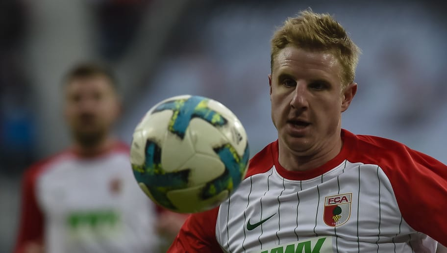 Augsburg's Austrian defender Martin Hinteregger looks at the ball during the German first division Bundesliga football match 1 FC Augsburg vs Eintracht Frankfurt in Augsburg, southern Germany, on February 4, 2018. / AFP PHOTO / Guenter SCHIFFMANN / RESTRICTIONS: DURING MATCH TIME: DFL RULES TO LIMIT THE ONLINE USAGE TO 15 PICTURES PER MATCH AND FORBID IMAGE SEQUENCES TO SIMULATE VIDEO. == RESTRICTED TO EDITORIAL USE == FOR FURTHER QUERIES PLEASE CONTACT DFL DIRECTLY AT + 49 69 650050         (Photo credit should read GUENTER SCHIFFMANN/AFP/Getty Images)