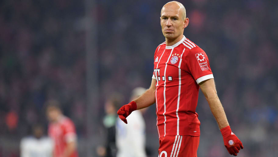 MUNICH, GERMANY - FEBRUARY 10: Arjen Robben of Bayern Muenchen looks on during the Bundesliga match between FC Bayern Muenchen and FC Schalke 04 at Allianz Arena on February 10, 2018 in Munich, Germany. (Photo by Sebastian Widmann/Bongarts/Getty Images)