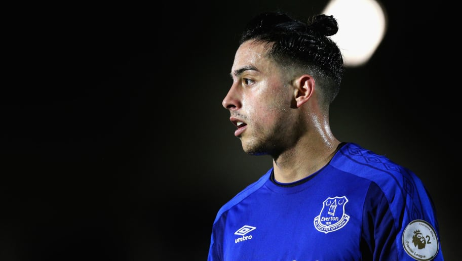 BOREHAMWOOD, ENGLAND - FEBRUARY 05:  Ramiro Funes Mori of Everton looks on during the Premier League 2 match between Arsenal and Everton at Meadow Park on February 5, 2018 in Borehamwood, England.  (Photo by James Chance/Getty Images)