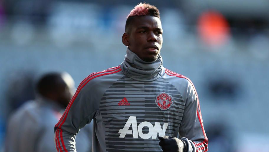 NEWCASTLE UPON TYNE, ENGLAND - FEBRUARY 11:  Paul Pogba of Manchester United warms up prior to the Premier League match between Newcastle United and Manchester United at St. James Park on February 11, 2018 in Newcastle upon Tyne, England.  (Photo by Catherine Ivill/Getty Images)