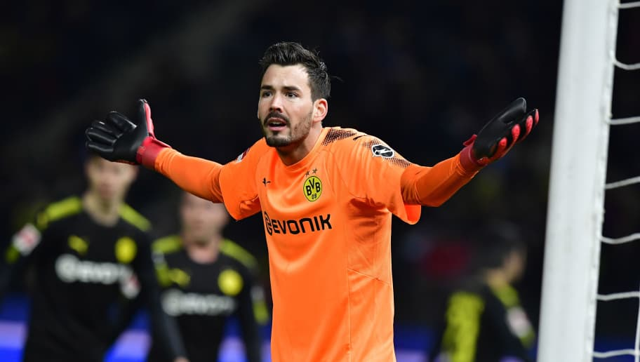 6e4533b0f Dortmund s Swiss goalkeeper Roman Buerki reacts during the German first  division Bundesliga football match Hertha BSC
