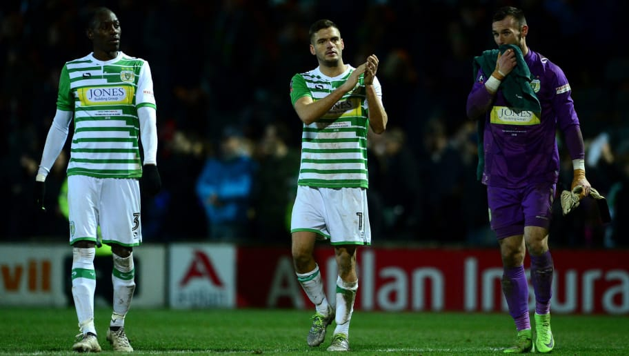 YEOVIL, ENGLAND - JANUARY 26:  Ryan Dickson (C) of Yeovil Town claps the fans after The Emirates FA Cup Fourth Round match between Yeovil Town and Manchester United at Huish Park on January 26, 2018 in Yeovil, England.  (Photo by Harry Trump/Getty Images)