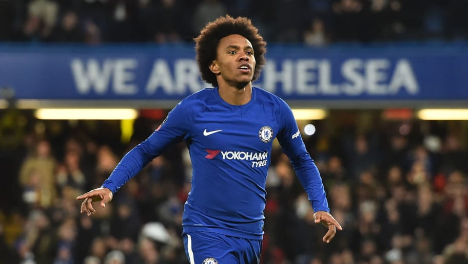 Chelsea's Brazilian midfielder Willian (R) celebrates scoring the team's first goal during the English FA Cup fifth round football match between Chelsea and Hull City at Stamford Bridge in London on February 16, 2018. / AFP PHOTO / Glyn KIRK / RESTRICTED TO EDITORIAL USE. No use with unauthorized audio, video, data, fixture lists, club/league logos or 'live' services. Online in-match use limited to 75 images, no video emulation. No use in betting, games or single club/league/player publications.  /         (Photo credit should read GLYN KIRK/AFP/Getty Images)