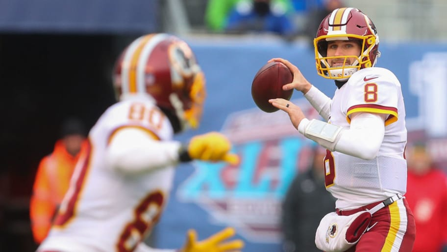 EAST RUTHERFORD, NJ - DECEMBER 31: Kirk Cousins #8 of the Washington Redskins looks to throw a pass during the first half of their game against the New York Giants at MetLife Stadium on December 31, 2017 in East Rutherford, New Jersey. (Photo by Ed Mulholland/Getty Images)