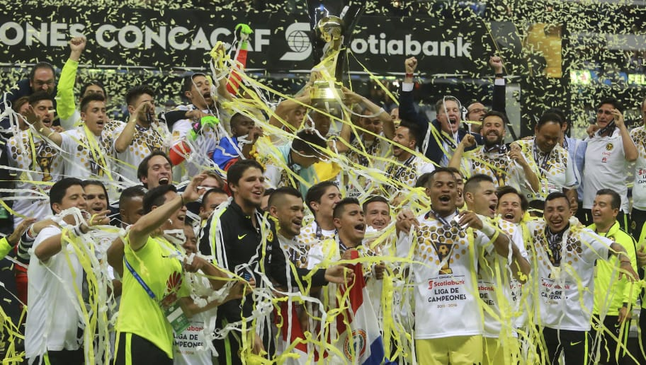 MEXICO CITY, MEXICO - APRIL 27:  Players of America celebrate after winning the Final second leg match between America and Tigres UANL as part of the Concacaf Champions League 2016 at Azteca Stadium on April 27, 2016 in Mexico City, Mexico. (Photo by Hector Vivas/LatinContent/Getty Images)