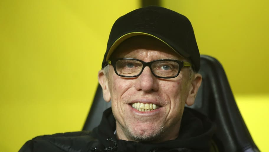 DORTMUND, GERMANY - FEBRUARY 15:  Peter Stoger, Head Coach of Borussia Dortmund ahead of the UEFA Europa League Round of 32 match between Borussia Dortmund and Atalanta Bergamo at the Signal Iduna Park on February 15, 2018 in Dortmund, Germany.  (Photo by Alex Grimm/Bongarts/Getty Images)