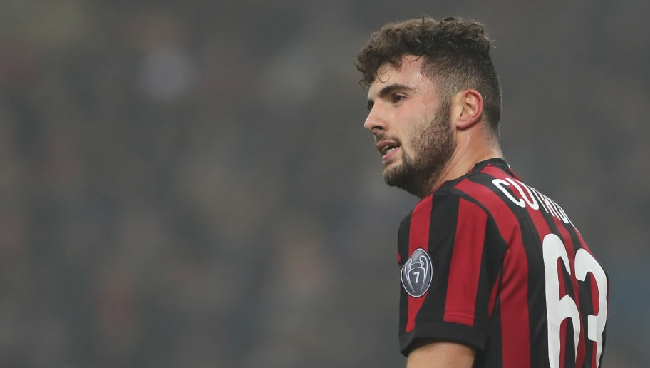 MILAN, ITALY - JANUARY 28:  Patrick Cutrone of AC Milan looks on during the serie A match between AC Milan and SS Lazio at Stadio Giuseppe Meazza on January 28, 2018 in Milan, Italy.  (Photo by Marco Luzzani/Getty Images)