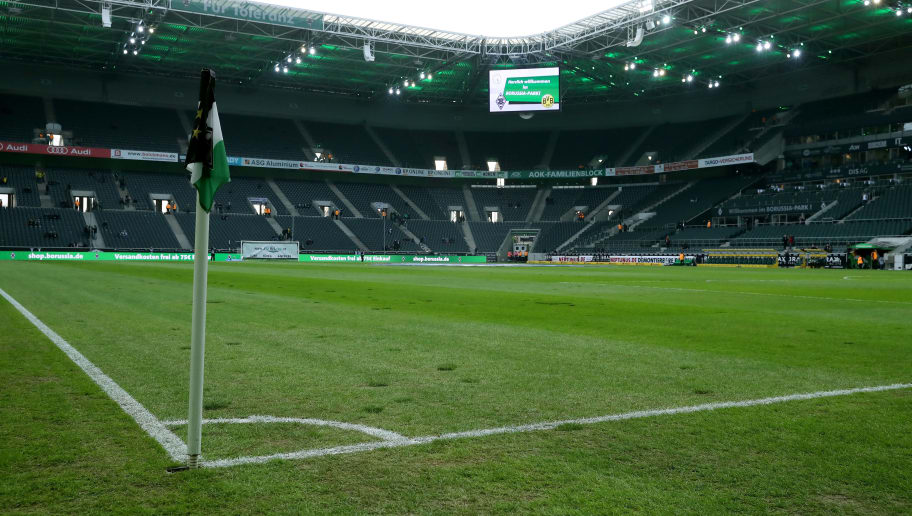 MOENCHENGLADBACH, GERMANY - FEBRUARY 18: General view of the ruined pitch at Borussia-Park prior to the Bundesliga match between Borussia Moenchengladbach and Borussia Dortmund at Borussia-Park on February 18, 2018 in Moenchengladbach, Germany. (Photo by Christof Koepsel/Bongarts/Getty Images)