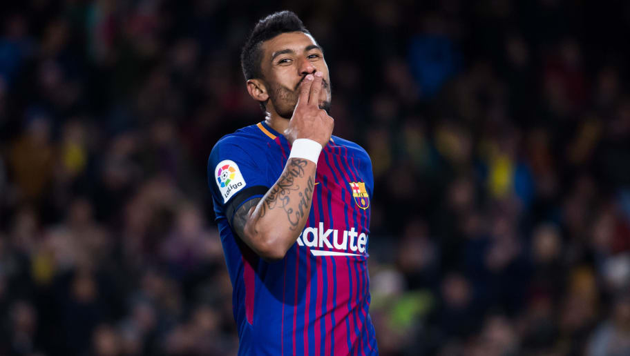 BARCELONA, SPAIN - DECEMBER 17:  Paulinho of FC Barcelona celebrates after scoring his team's fourth goal during the La Liga match between FC Barcelona and Deportivo La Coruna at Camp Nou on December 17, 2017 in Barcelona, Spain.  (Photo by Alex Caparros/Getty Images)