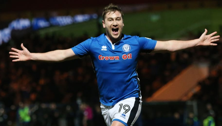 ROCHDALE, ENGLAND - FEBRUARY 18:  Steve Davies of Rochdale AFC celebrates scoring the second Rochdale AFC goal during The Emirates FA Cup Fifth Round match between Rochdale and Tottenham Hotspur on February 18, 2018 in Rochdale, United Kingdom.  (Photo by Nigel Roddis/Getty Images)