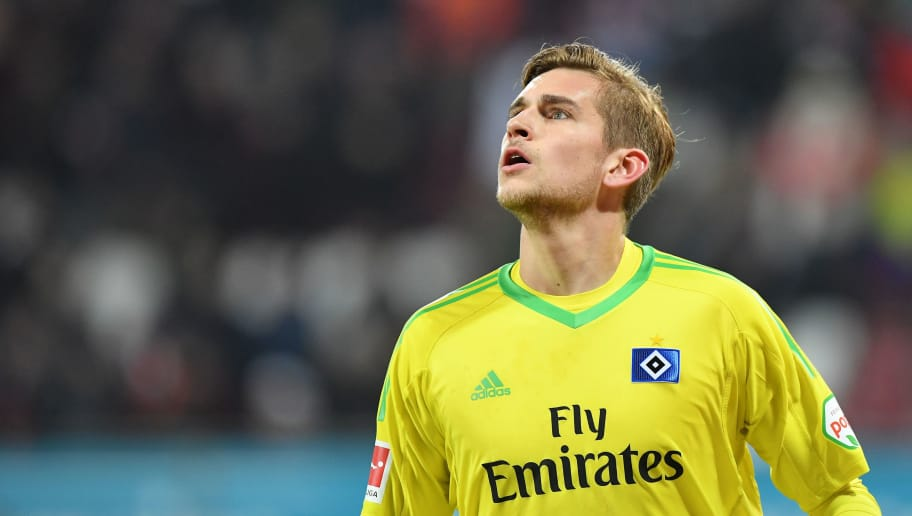 AUGSBURG, GERMANY - JANUARY 13: Goalkeeper Julian Pollersbeck of Hamburg looks up during the Bundesliga match between FC Augsburg and Hamburger SV at WWK-Arena on January 13, 2018 in Augsburg, Germany. (Photo by Sebastian Widmann/Bongarts/Getty Images)