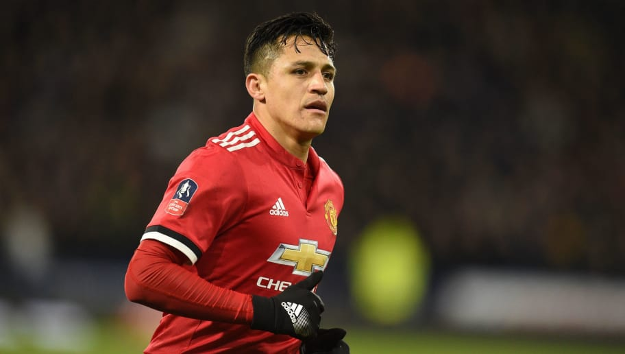 Manchester United's Chilean striker Alexis Sanchez is pictured during the English FA Cup fifth round football match between Huddersfield Town and Manchester United at the John Smith's stadium in Huddersfield, northern England on February 17, 2018. / AFP PHOTO / Oli SCARFF / RESTRICTED TO EDITORIAL USE. No use with unauthorized audio, video, data, fixture lists, club/league logos or 'live' services. Online in-match use limited to 75 images, no video emulation. No use in betting, games or single club/league/player publications.  /         (Photo credit should read OLI SCARFF/AFP/Getty Images)