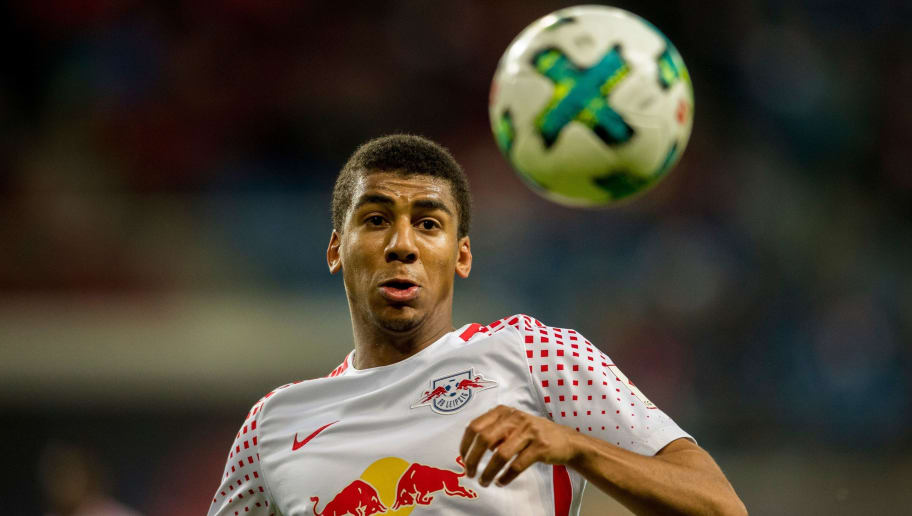 Leipzig´s Brazilian defender Bernardo Fernandes da Silva Junior plays the ball during the German first division Bundesliga football match between RB Leipzig and Mainz 05 in Leipzig, eastern Germany on December 9, 2017.  / AFP PHOTO / ROBERT MICHAEL / RESTRICTIONS: DURING MATCH TIME: DFL RULES TO LIMIT THE ONLINE USAGE TO 15 PICTURES PER MATCH AND FORBID IMAGE SEQUENCES TO SIMULATE VIDEO. == RESTRICTED TO EDITORIAL USE == FOR FURTHER QUERIES PLEASE CONTACT DFL DIRECTLY AT + 49 69 650050         (Photo credit should read ROBERT MICHAEL/AFP/Getty Images)