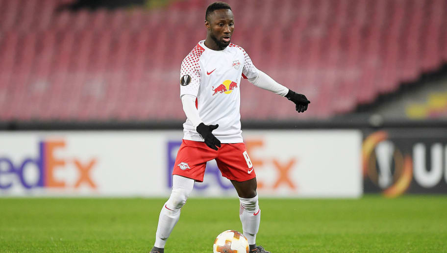 NAPLES, ITALY - FEBRUARY 15:  Naby Keita of RB Leipzig in action during UEFA Europa League Round of 32 match between Napoli and RB Leipzig at the Stadio San Paolo on February 15, 2018 in Naples, Italy.  (Photo by Francesco Pecoraro/Getty Images)