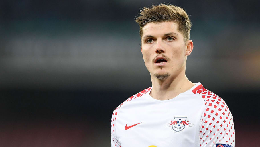NAPLES, ITALY - FEBRUARY 15:  Marcel Sabitzer of RB Leipzig in action during UEFA Europa League Round of 32 match between Napoli and RB Leipzig at the Stadio San Paolo on February 15, 2018 in Naples, Italy.  (Photo by Francesco Pecoraro/Getty Images)