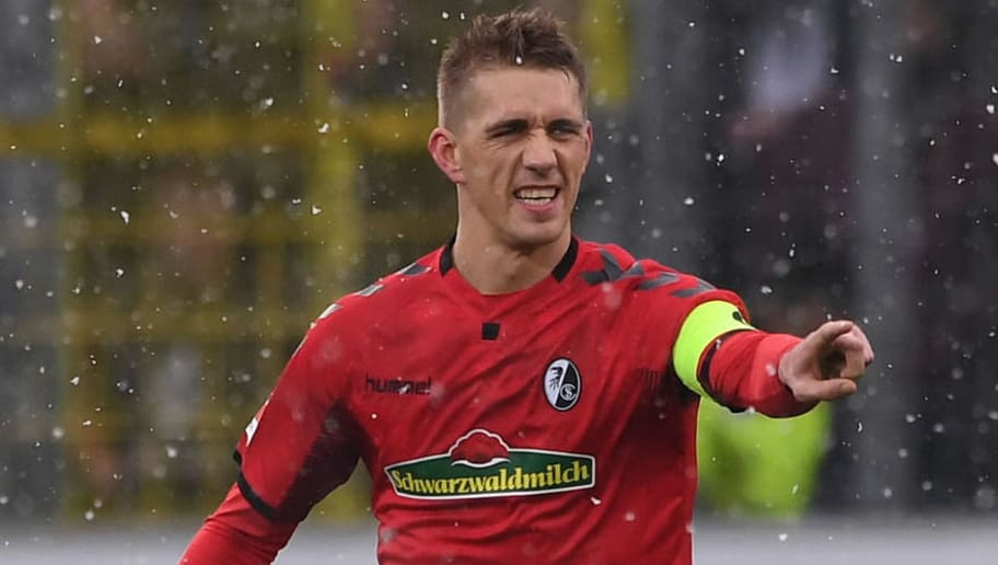 FREIBURG GERMANY - FEBRUARY 17: Nils Petersen of SC Freiburg celebrate his opening goal during the Bundesliga match between Sport-Club Freiburg and SV Werder Bremen at Schwarzwald-Stadion on February 17, 2018 in Freiburg, Germany.  (Photo by Michael Kienzler/Bongarts/Getty Images)