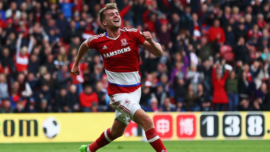 MIDDLESBROUGH, ENGLAND - MAY 13:  Patrick Bamford of Middlesbrough celebrates scoring his sides first goal during the Premier League match between Middlesbrough and Southampton at Riverside Stadium on May 13, 2017 in Middlesbrough, England.  (Photo by Matthew Lewis/Getty Images)