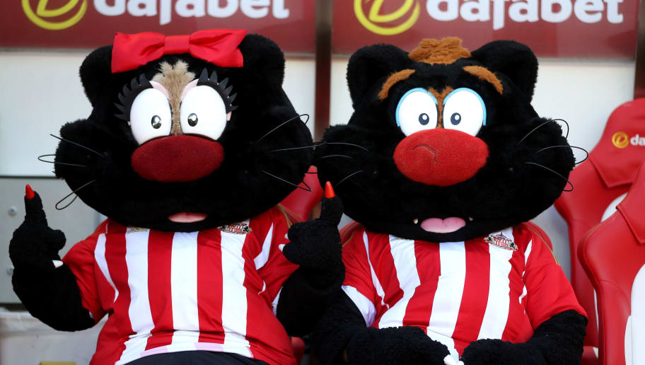 SUNDERLAND, ENGLAND - APRIL 15: The two Sunderland mascots are seen prior to the Premier League match between Sunderland and West Ham United at Stadium of Light on April 15, 2017 in Sunderland, England.  (Photo by Ian MacNicol/Getty Images)