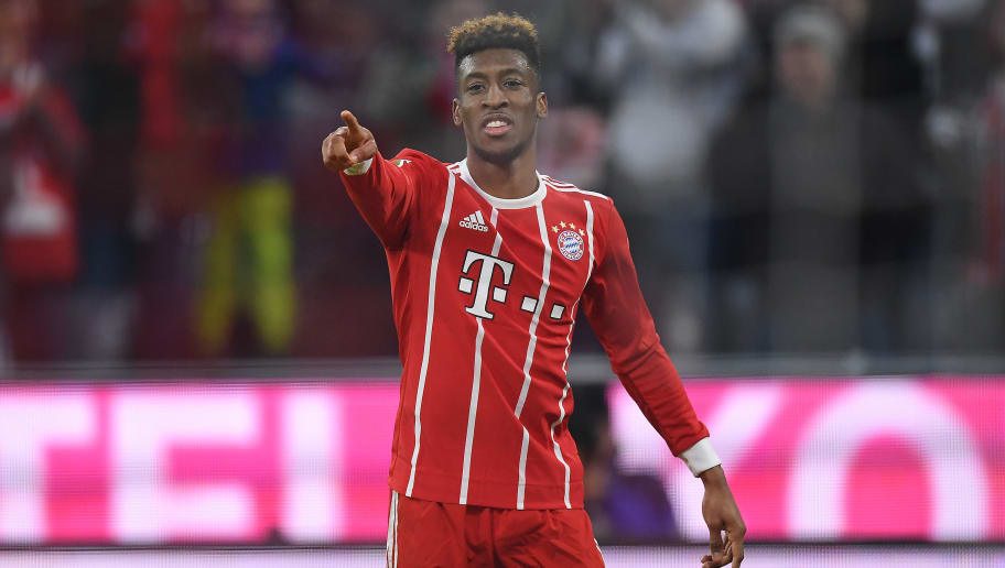 MUNICH, GERMANY - JANUARY 27: Kingsley Coman of Bayern Muenchen celebrates after he scored a goal to make it 3:2 during the Bundesliga match between FC Bayern Muenchen and TSG 1899 Hoffenheim at Allianz Arena on January 27, 2018 in Munich, Germany. (Photo by Matthias Hangst/Bongarts/Getty Images)