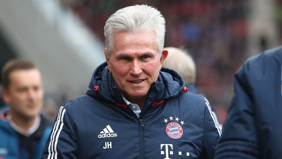 MAINZ, GERMANY - FEBRUARY 03: Jupp Heynckes, head coach of Bayern Muechen, looks on before the Bundesliga match between 1. FSV Mainz 05 and FC Bayern Muenchen at Opel Arena on February 3, 2018 in Mainz, Germany. (Photo by Alex Grimm/Bongarts/Getty Images)