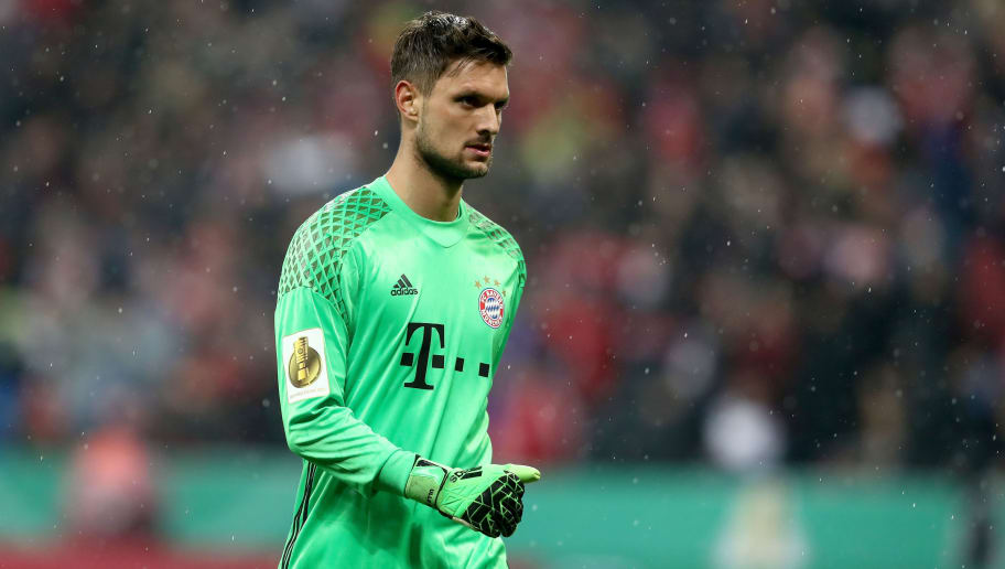 MUNICH, GERMANY - APRIL 26:  Sven Ullreich of Muenchen reacts during the DFB Cup semi final match between FC Bayern Muenchen and Borussia Dortmund at Allianz Arena on April 26, 2017 in Munich, Germany.  (Photo by Alexander Hassenstein/Bongarts/Getty Images)