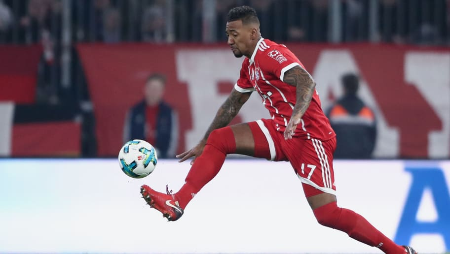 MUNICH, GERMANY - FEBRUARY 10:  Jerome Boateng of Muenchen controls the ball during the Bundesliga match between FC Bayern Muenchen and FC Schalke 04 at Allianz Arena on February 10, 2018 in Munich, Germany.  (Photo by Alex Grimm/Bongarts/Getty Images)