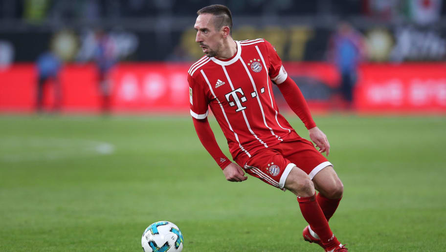 Bayern Munich's French midfielder Franck Ribery controls the ball during the German first division Bundesliga football match VfL Wolfsburg vs FC Bayern Munich at Volkswagen Arena on February 17, 2018 in Wolfsburg, Germany. / AFP PHOTO / Ronny Hartmann / RESTRICTIONS: DURING MATCH TIME: DFL RULES TO LIMIT THE ONLINE USAGE TO 15 PICTURES PER MATCH AND FORBID IMAGE SEQUENCES TO SIMULATE VIDEO. == RESTRICTED TO EDITORIAL USE == FOR FURTHER QUERIES PLEASE CONTACT DFL DIRECTLY AT + 49 69 650050         (Photo credit should read RONNY HARTMANN/AFP/Getty Images)