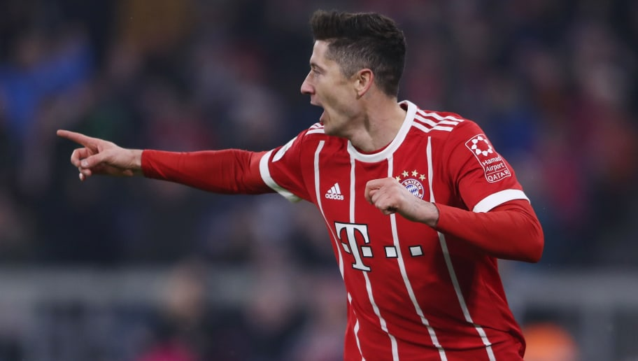 MUNICH, GERMANY - FEBRUARY 10:  Robert Lewandowski of Muenchen celebrates his team's first goal during the Bundesliga match between FC Bayern Muenchen and FC Schalke 04 at Allianz Arena on February 10, 2018 in Munich, Germany.  (Photo by Alex Grimm/Bongarts/Getty Images)