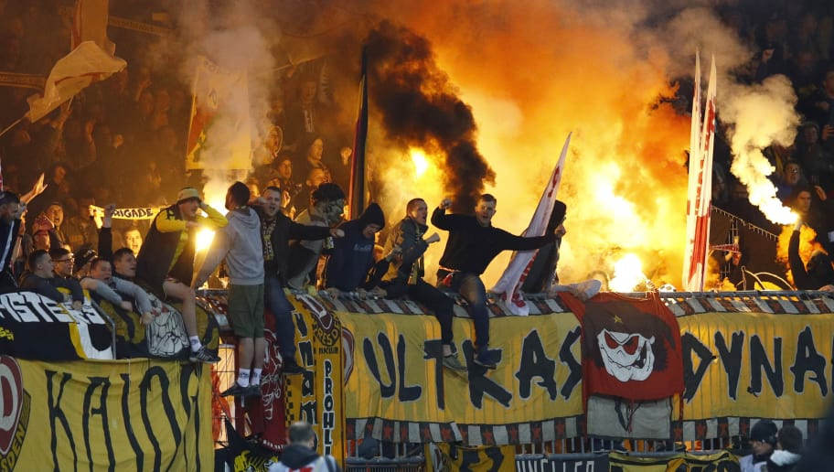 BRAUNSCHWEIG, GERMANY - APRIL 10: The Fans of Dresden during the Second Bundesliga match between Eintracht Braunschweig and SG Dynamo Dresden at Eintracht Stadion on April 10, 2017 in Braunschweig, Germany. (Photo by Joachim Sielski/Bongarts/Getty Images)