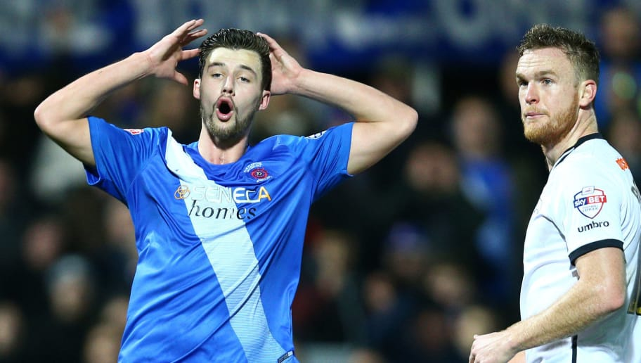 HARTLEPOOL, ENGLAND - JANUARY 9 : Jacob Butterfield (L), of Hartlepool United reacts after missing an opportunity late in the second half during The Emirates FA Cup third round match between Hartlepool United FC and Derby County FC at Victoria Park on January 9, 2016 in Hartlepool, England. (Photo by Mark Runnacles/Getty Images)