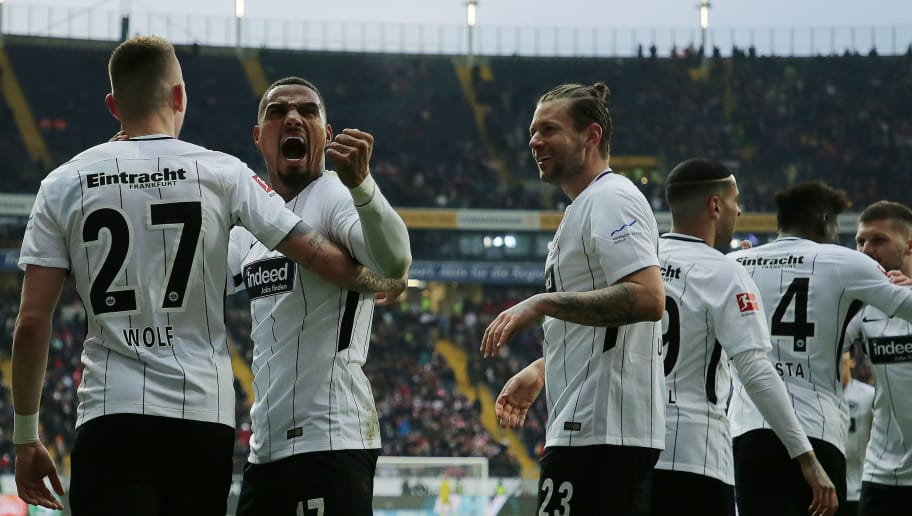 FRANKFURT AM MAIN, GERMANY - FEBRUARY 10: Kevin Prince-Boateng of Frankfurt (17) celebrate after Marius Wolf of Frankfurt (r) scored a goal to make it 4:1 during the Bundesliga match between Eintracht Frankfurt and 1. FC Koeln at Commerzbank-Arena on February 10, 2018 in Frankfurt am Main, Germany. (Photo by Simon Hofmann/Bongarts/Getty Images)