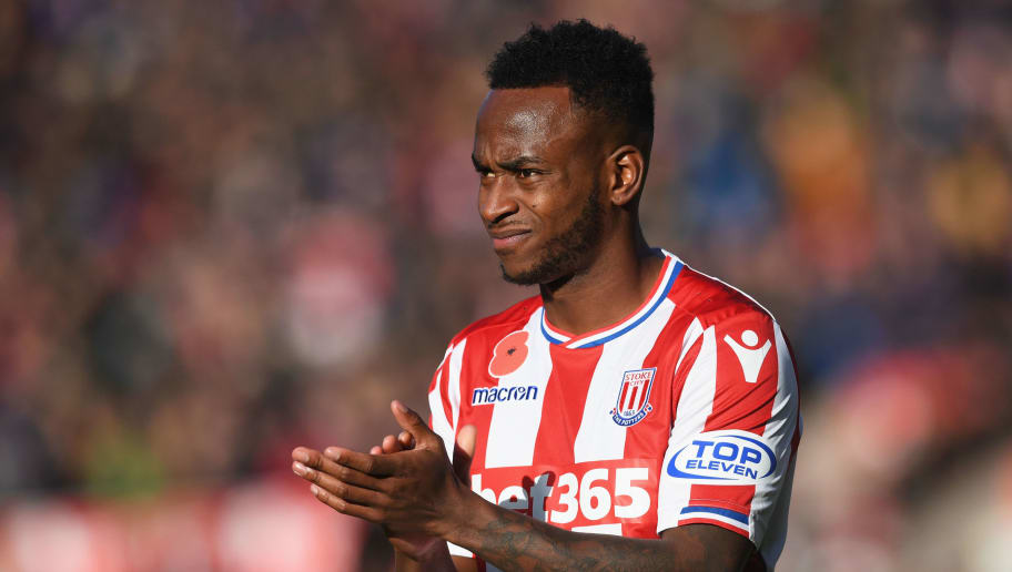 STOKE ON TRENT, ENGLAND - NOVEMBER 04: Saido Berahino of Stoke City shows appreciation to the fans after the Premier League match between Stoke City and Leicester City at Bet365 Stadium on November 4, 2017 in Stoke on Trent, England.  (Photo by Michael Regan/Getty Images)