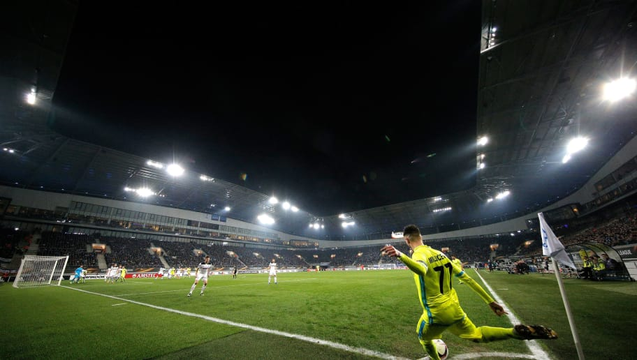 GENT, BELGIUM - FEBRUARY 16:  Danijel Milicevic of KAA Gent takes a corner during the UEFA Europa League Round of 32 first leg match between KAA Gent and Tottenham Hotspur at Ghelamco Arena on February 16, 2017 in Gent, Belgium.  (Photo by Dean Mouhtaropoulos/Getty Images)