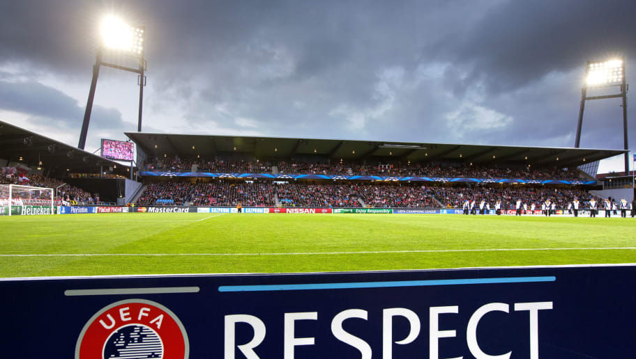 AALBORG,DENMARK - AUGUST 20:   A general view of the pitch before the UEFA Champions League Play off football match between Aalborg BK and Apoel FC at the Nordjyske Arena on August 20, 2014 in Aalborg, Denmark.. (Photo by Andreas Hillergren/EuroFootball/Getty Images)