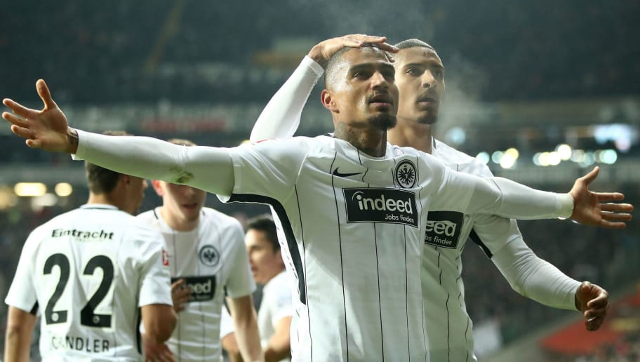 FRANKFURT AM MAIN, GERMANY - FEBRUARY 19:  Kevin Boateng of Frankfurt celebrates after he scores the 2nd goal during the Bundesliga match between Eintracht Frankfurt and RB Leipzig at Commerzbank-Arena on February 19, 2018 in Frankfurt am Main, Germany.  (Photo by Alex Grimm/Bongarts/Getty Images)