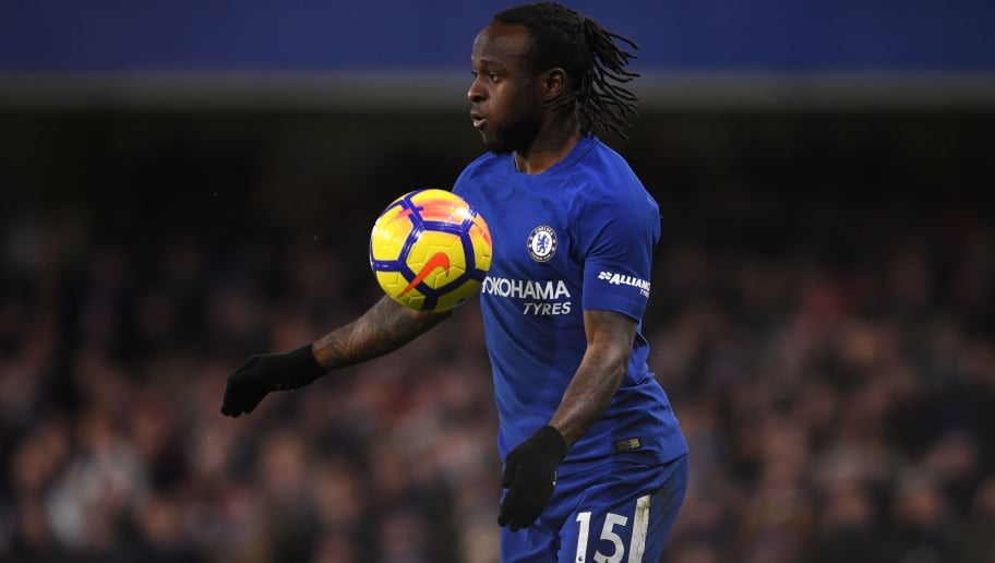 LONDON, ENGLAND - FEBRUARY 12:  Victor Moses of Chelsea in action during the Premier League match between Chelsea and West Bromwich Albion at Stamford Bridge on February 12, 2018 in London, England.  (Photo by Mike Hewitt/Getty Images)