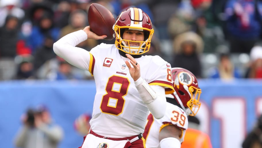 EAST RUTHERFORD, NJ - DECEMBER 31: Kirk Cousins #8 of the Washington Redskins throws a pass during the first half of their game against the New York Giants at MetLife Stadium on December 31, 2017 in East Rutherford, New Jersey. (Photo by Ed Mulholland/Getty Images)