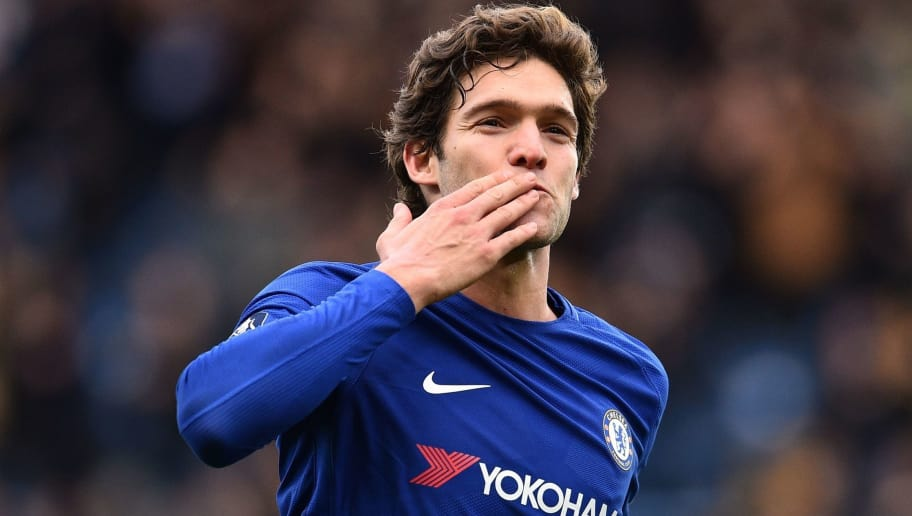 Chelsea's Spanish defender Marcos Alonso celebrates after scoring their third goal during the English FA Cup fourth round football match between Chelsea and Newcastle United at Stamford Bridge in London on January 28, 2018. / AFP PHOTO / Glyn KIRK / RESTRICTED TO EDITORIAL USE. No use with unauthorized audio, video, data, fixture lists, club/league logos or 'live' services. Online in-match use limited to 75 images, no video emulation. No use in betting, games or single club/league/player publications.  /         (Photo credit should read GLYN KIRK/AFP/Getty Images)