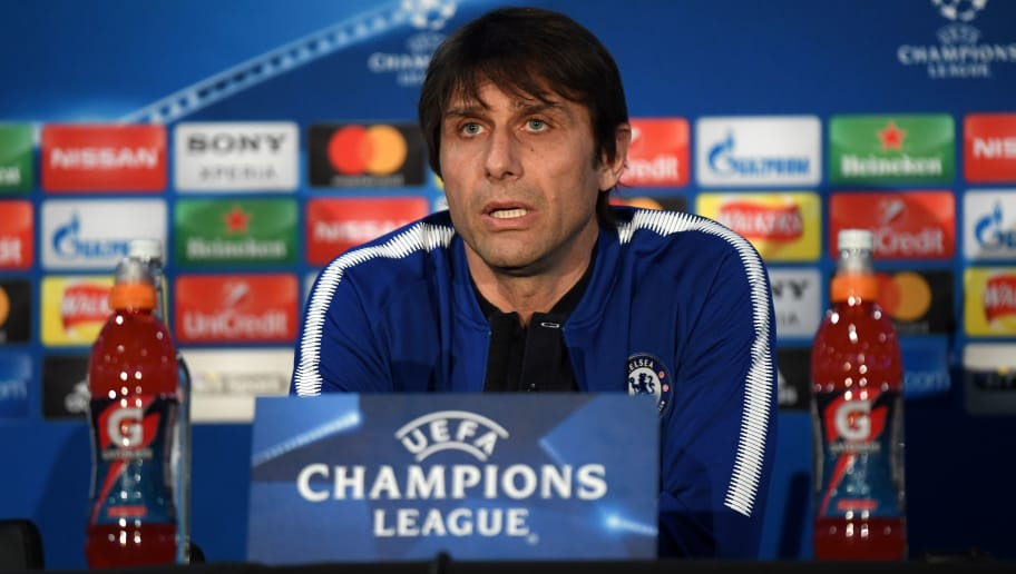 LONDON, ENGLAND - FEBRUARY 19:  Chelsea Manager, Antonio Conte talks during a Chelsea FC Press Conference ahead of their Champions League last 16 match against FC Barcelona at Stamford Bridge on February 19, 2018 in London, England.  (Photo by Mike Hewitt/Getty Images)