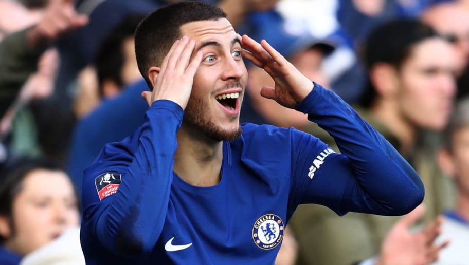 LONDON, ENGLAND - JANUARY 28: Eden Hazard of Chelsea reacts during the Emirates FA Cup Fourth Round match between Chelsea and Newcastle United on January 28, 2018 in London, United Kingdom. (Photo by Catherine Ivill/Getty Images)