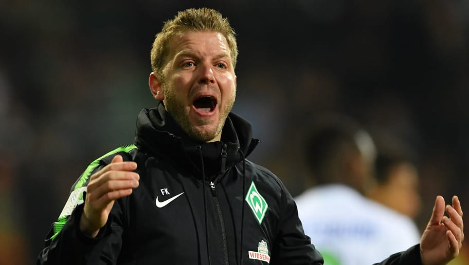 BREMEN, GERMANY - FEBRUARY 11:  Florian Kohfeldt, head coach of Bremen reacts during the Bundesliga match between SV Werder Bremen and VfL Wolfsburg at Weserstadion on February 11, 2018 in Bremen, Germany.  (Photo by Stuart Franklin/Bongarts/Getty Images)
