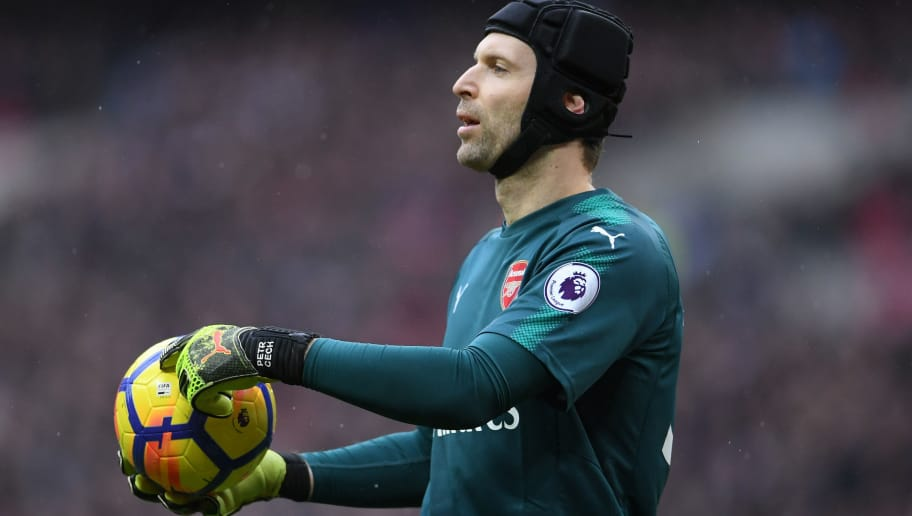 LONDON, ENGLAND - FEBRUARY 10:  Petr Cech of Arsenal looks on during the Premier League match between Tottenham Hotspur and Arsenal at Wembley Stadium on February 10, 2018 in London, England.  (Photo by Laurence Griffiths/Getty Images)