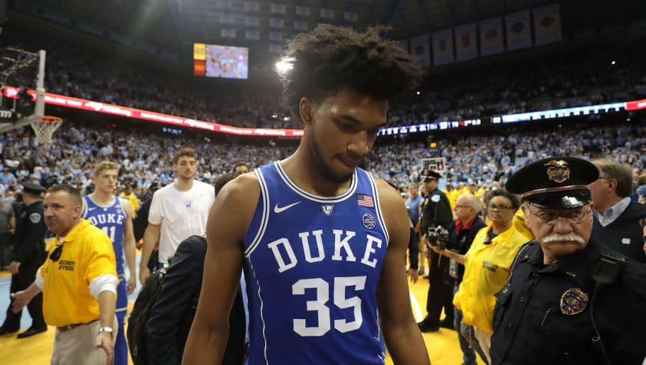 CHAPEL HILL, NC - FEBRUARY 08:  Marvin Bagley III #35 of the Duke Blue Devils walks off the court after being defeated by the North Carolina Tar Heels 82-78 at Dean Smith Center on February 8, 2018 in Chapel Hill, North Carolina.  (Photo by Streeter Lecka/Getty Images)