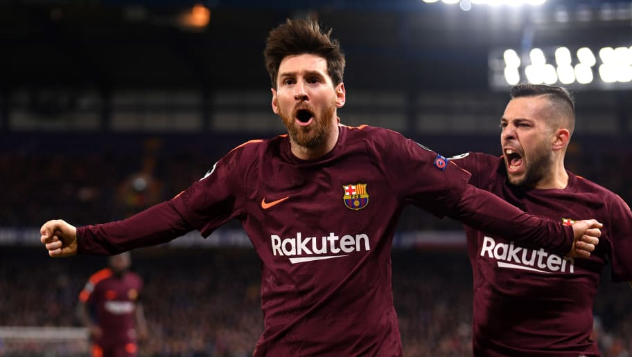 LONDON, ENGLAND - FEBRUARY 20:  Lionel Messi of Barcelona celebrates after scoring his sides first goal during the UEFA Champions League Round of 16 First Leg  match between Chelsea FC and FC Barcelona at Stamford Bridge on February 20, 2018 in London, United Kingdom.  (Photo by Mike Hewitt/Getty Images)