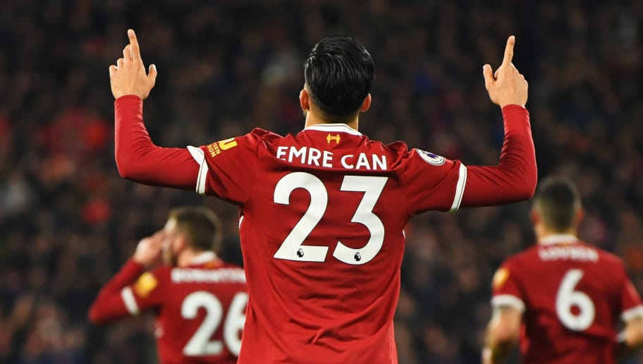 HUDDERSFIELD, ENGLAND - JANUARY 30:  Emre Can of Liverpool celebrates as he scores their first goal  during the Premier League match between Huddersfield Town and Liverpool at John Smith's Stadium on January 30, 2018 in Huddersfield, England.  (Photo by Gareth Copley/Getty Images)