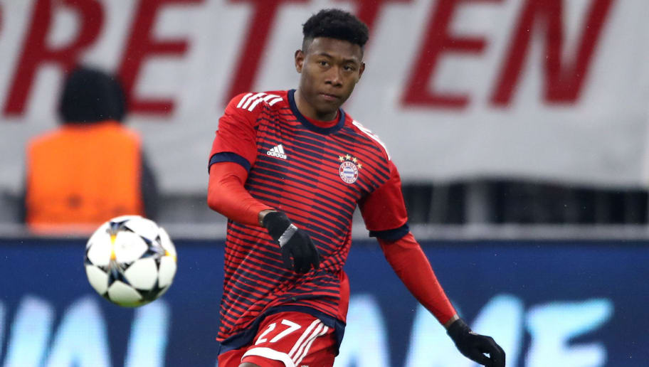 MUNICH, GERMANY - FEBRUARY 20:  David Alaba of Bayern Muenchen warms up during the UEFA Champions League Round of 16 First Leg  match between Bayern Muenchen and Besiktas at Allianz Arena on February 20, 2018 in Munich, Germany.  (Photo by Alex Grimm/Bongarts/Getty Images)