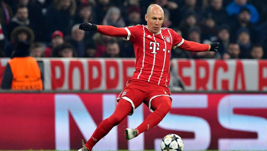 Bayern Munich's Dutch midfielder Arjen Robben runs with the ball during the UEFA Champions League round of sixteen first leg football match Bayern Munich vs Besiktas Istanbul on February 20, 2018 in Munich, southern Germany. / AFP PHOTO / John MACDOUGALL        (Photo credit should read JOHN MACDOUGALL/AFP/Getty Images)