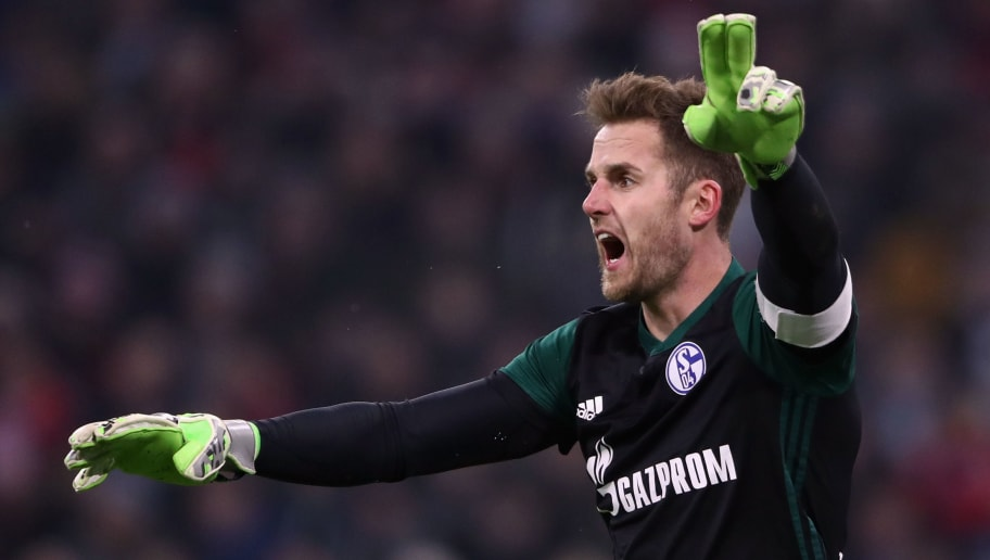 MUNICH, GERMANY - FEBRUARY 10:  Goalkeeper Ralf Faehrmann of Schalke reacts during the Bundesliga match between FC Bayern Muenchen and FC Schalke 04 at Allianz Arena on February 10, 2018 in Munich, Germany.  (Photo by Alex Grimm/Bongarts/Getty Images)